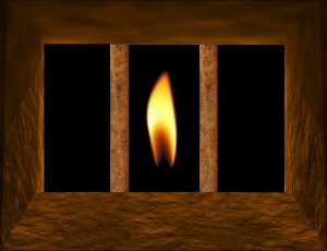 Prison Bars with Candle